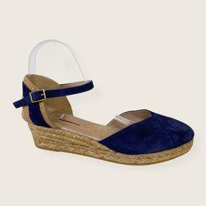 NWOB Gaimo Blue Suede Espadrille Wedge Sandals